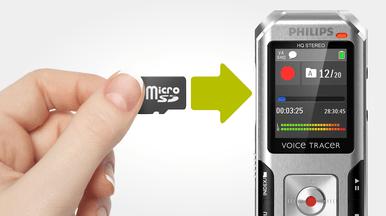 Entrée pour carte mémoire MicroSD pour des enregistrements quasi-illimités