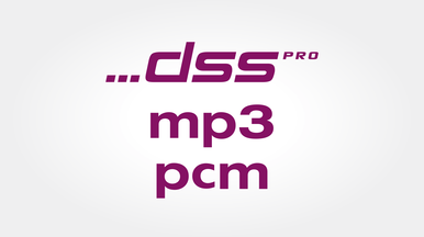 High recording quality in DSS Pro, MP3 and PCM format