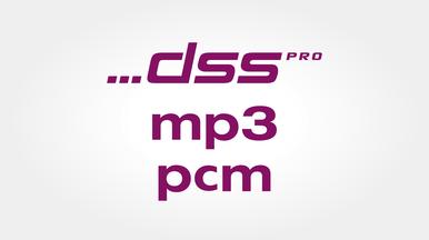 Hohe Aufnahmequalität in den Formaten DSS Pro, MP3 und PCM