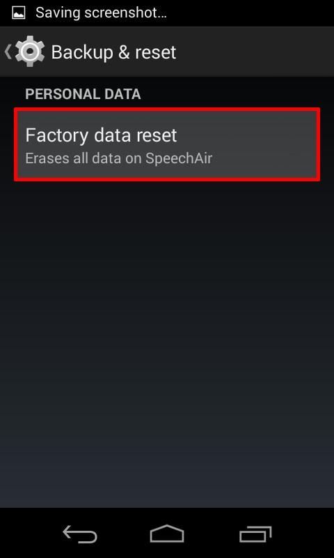 tap Factory data reset