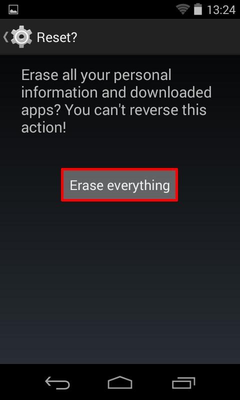 Tap - Erase everything