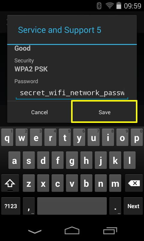 Enter the right password for the selected Network and tap on Save