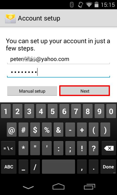 Type your full email address and your password, and then tap Next